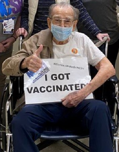 100 Year Old WWII Vet Vaccinated